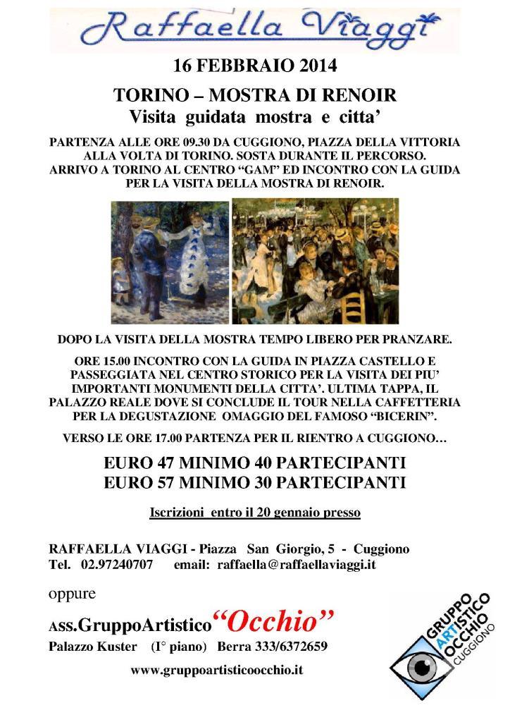 anno 2014 Torino - Mostra di Renoir e visita guidata alla città - 16 Febbraio 2014.